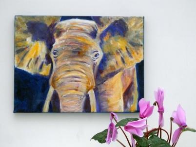 elephant on box canvas, acrylic elephant painting, purple and yellow elephant