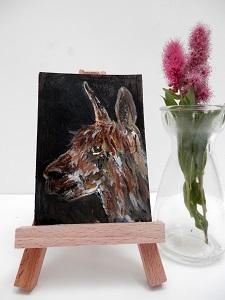 brown alpaca painting, alpaca ACEO, brown alpaca gift, llama art