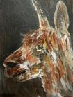 brown alpaca painting, brown alpaca ACEO, alpaca trading card, llama gift, miniature alpaca