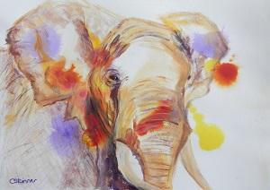 African Elephant art, elephant painting, wildlife art