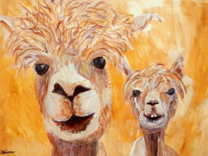 framed golden yellow painting, yellow alpaca art, llama gift