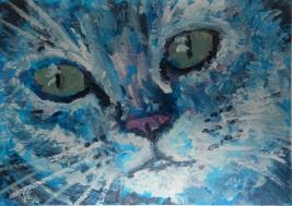 miniature blue cat, cat portrait, cat ACEO