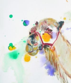 camel painting, camel art, desert painting