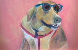 cool dog, Golden Labrador painting