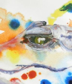 crocodile art, reptile painting, crocodile gift