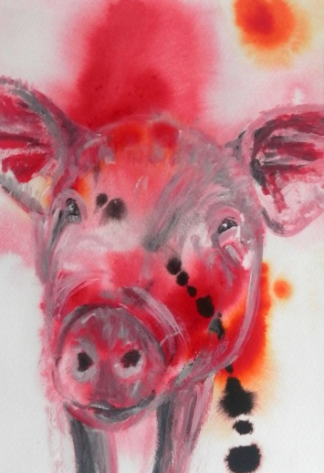 red pig painting, pig art, hog painting