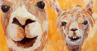 couple of alpacas, llama art, yellow living room decor