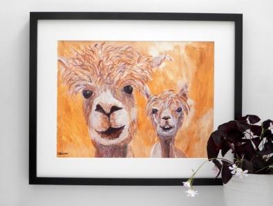 alpaca art, alpaca gift, golden alpaca painting
