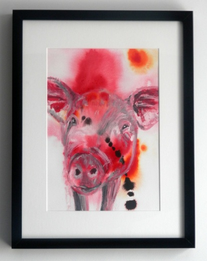pig painting, red framed pig art, cute pig artwork