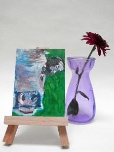 Miniature Purple Cow, cow art, cow painting, farm animal art