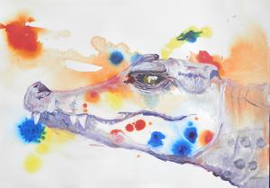 crocodile painting, reptile art, framed smiling crocodile