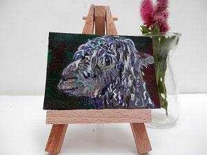 miniature alpaca painting, alapca art, llama gift