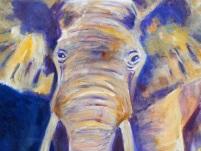 purple and yellow elephant print, elephant giclee print