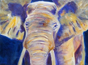purple and yellow elephant, acrylic elephant on canvas