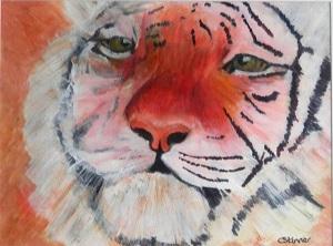 amur tiger, tiger gift, tiger painting, tiger portrait, rare big cat painting