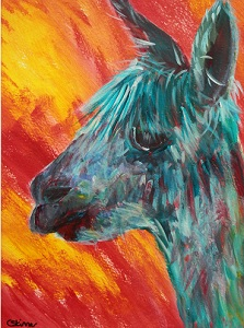 urquoise alpaca painting, red and yellow background, funky alpaca, llama art