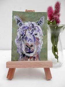 green alpaca ACEO, miniature alpaca painting, llama art