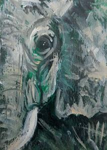 small green elephant, elephant ACEO, elephant painting
