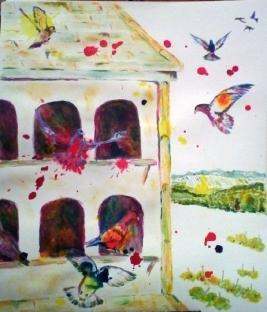 pigeon loft painting, colourful pigeons