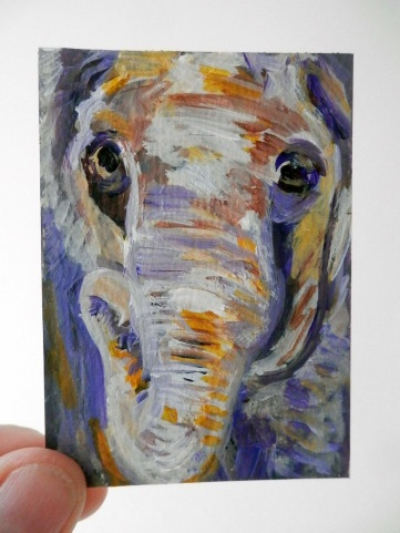 Purple and yellow elephant ACEO, elephant artist trading card