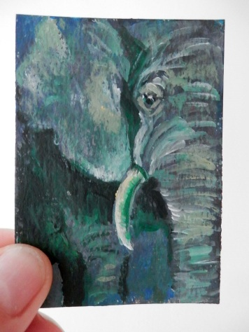 green elephant ACEO, green elephant artist trading card,