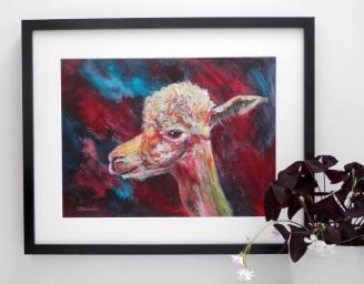 llama art, red alpaca print, alpaca art
