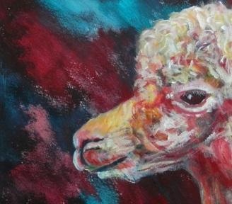 farm animal art, red alpaca, llama gift