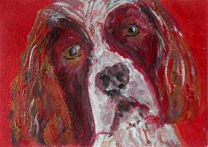 springer spaniel painting, miniature Springer Spaniel, dog art, pet portrait, springer spaniel artist trading card, spaniel ACEO