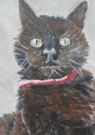 black cat, cat painting