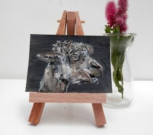 alpaca painting, alpaca ACEO, alpaca art, llama gift teeth