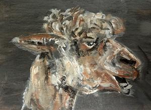 teeth, alpaca art, alpaca painting, alapca ACEO, llama art