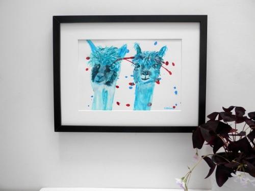 turquoise farm animal painting, alpacas in acrylic, llama art