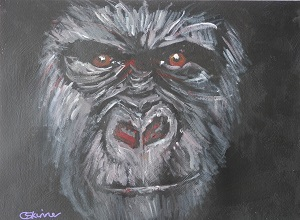 gorilla painting, gorilla art, ape art, red eyes