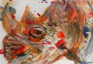 rhino gift, black rhino painting, black rhino art