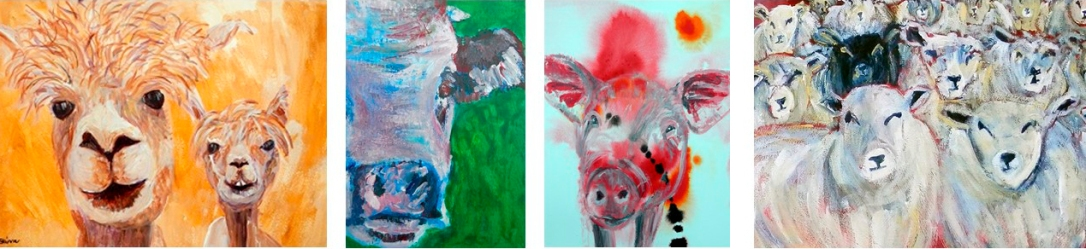 alapca art, cow ACEO, pig painting, sheep artwork