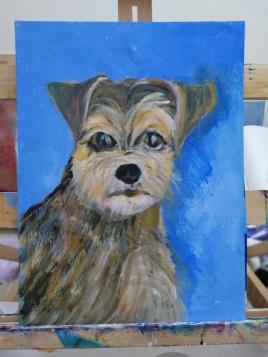pet portrait, acrylic pet painting, Yorkshire Terrier