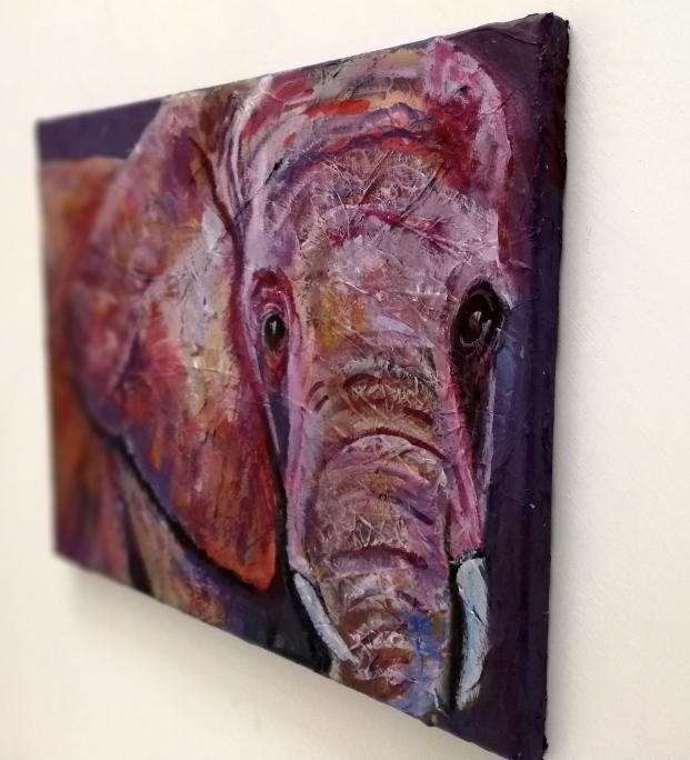 Ultra violet elephant painting, original acrylic canvas