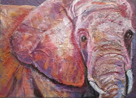 ultra violet elephant painting,, acrylic canvas