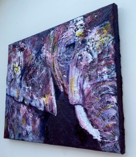 Acrylic purple elephant painting
