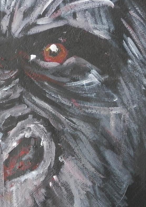 gorilla painting, ape gift, gorilla art, red eyes