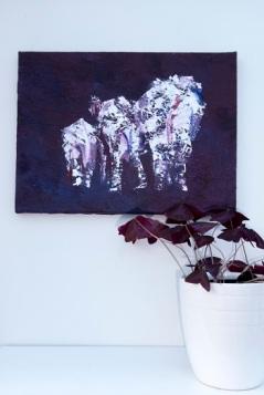 elephant herd art, purple elephant family painting