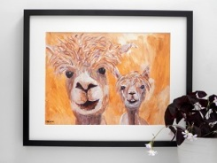 Golden yellow alpaca couple, original acrylic farm animal painting