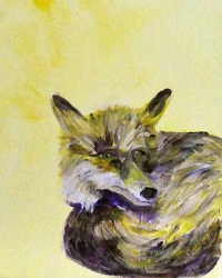 Fox painting, British Wildlife art, yellow animal decor