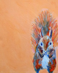 red squirrel art, orange animal home deor, orange squirrel art